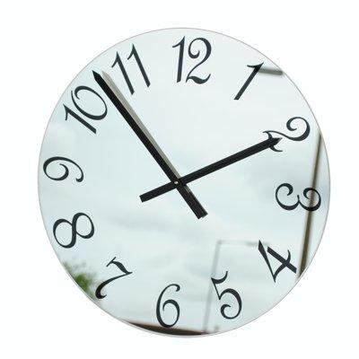 Horloge Murale Miroir Chiffres Français Noirs (56cm Diamètre)