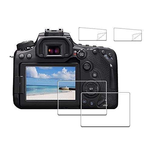 iDaPro - Protector de pantalla para Canon EOS 70D 80D 90D + protector de pantalla superior de PET (2+2 unidades)