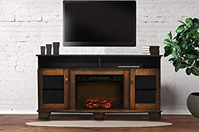 Cambridge CAM6022-1WAL Savona 59 In. Electric Fireplace in Walnut with Entertainment Stand and Charred Log Display