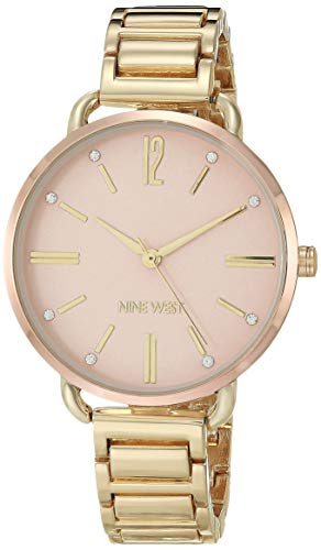Nine West Reloj de pulsera para mujer, con detalles de cristal, NW/2458RGGP