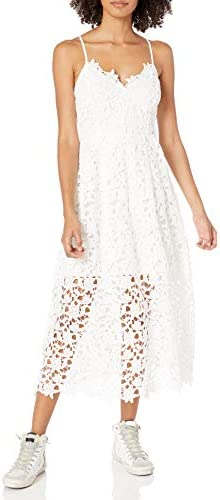 ASTR the label Women s Sleeveless Lace Fit Flare Midi Dress White XS product image