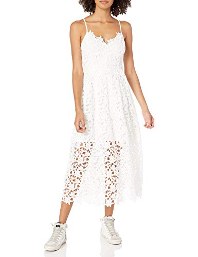ASTR the label Women's Sleeveless Lace Fit & Flare Midi Dress, White, M