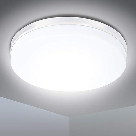 Plafonnier LED 24W, SOLMORE Lampe de Plafond, Plafonnier Cuisine 2200LM Étanche IP54 Blanc Naturel 5000K, Applique Plafond Moderne, LED Plafonnier Salon Applicable à Chambre Balcon Garage (Ø23.5*4CM)