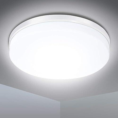 Plafonnier LED 24W, Lampe de Plafond, Plafonnier Cuisine 2200LM Étanche IP54 Blanc Naturel 5000K, Applique Plafond Mo...