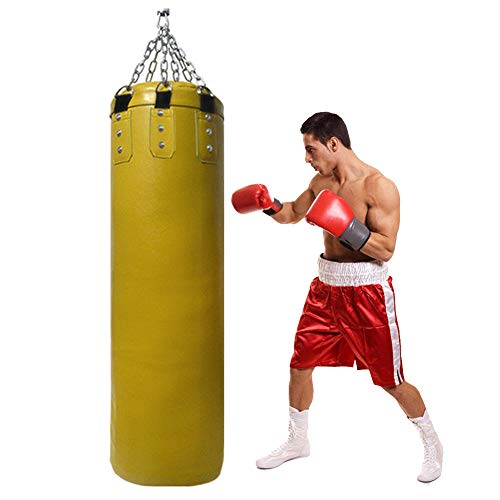 GYPPG Schwerer Boxsack für das Boxtraining Erwachsene Trainingstasche mit Ketten, ungefüllter Trainings-Boxsack, für Boxen, Kampfsport Kickboxen MMA und Fitness-Gelb_130cm