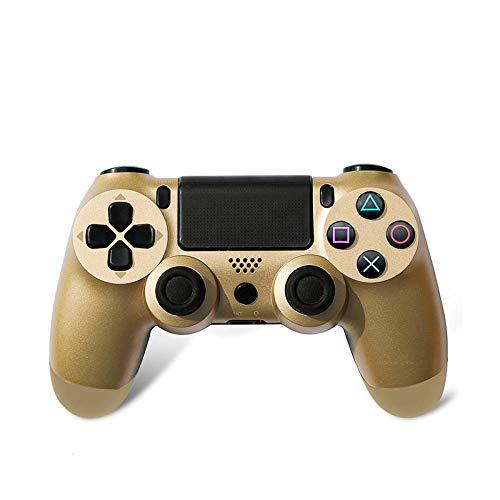 OKLINMI Hochempfindliches Bluetooth ps4 Controller,Dual Vibration Wireless Gamepad for PC,Sechsachsensensor USB Joysticks,Mit Kopfhörer und Mikrofonbuchse-Golden
