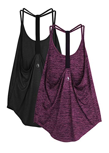 icyzone Damen Sport Top ärmellos Yoga Shirt Strappy Training Fitness Tank Top Gym Oberteile, 2er Pack (S, Black/Red Bud)