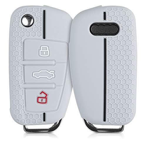 kwmobile Funda de Silicona Compatible con Audi Llave de Coche Plegable de 3 Botones - Carcasa Suave de Silicona - Case Mando de Auto Gris/Negro