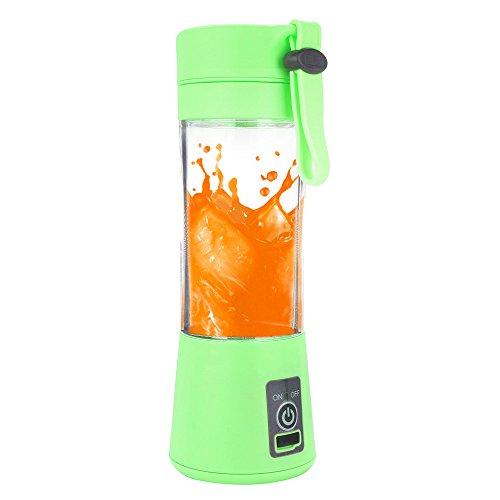 Kariwell Juice Cup, Personal Glass Smoothie Blender 380ml USB Electric Fruit Juicer Handheld Smoothie Maker Juice Cup (Green)