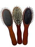 Set de tres Cepillos de Madera Cuero Cabelludo y Masaje Anti Estático Desenredante Anti Estrés Cuidado y Crecimiento del Cabello Con Cerdas de Madera Metal y Plástico para distintos tipos de cabello.