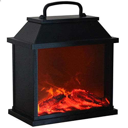 Tronje LED Tisch-Kamin XXL schwarz 4h-Timer 6 LEDs Feuersimulation lodernde Flammen Deko-Kamin USB Kaminfeuer-Animation