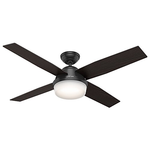 """Hunter Dempsey Indoor / Outdoor Ceiling Fan with LED Light and Remote Control, 52"""", Black"""
