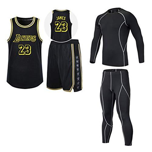 QYAD James # 23 Laker Basketball Jersey Anzug, Herren Jugend Sportanzug Trainingsanzug Wettkampf Team Uniform Geschenk Vierteilige Studentenuniform-Black-XXXL