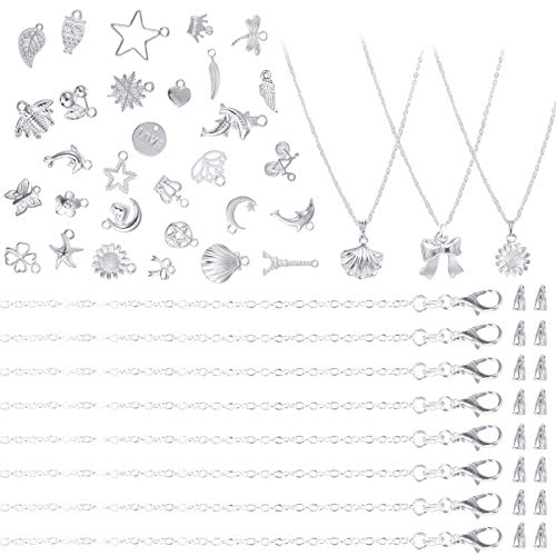 PP OPOUNT 30 Packs Necklace Chains Silver Bulk Cable Chains with 30 Pieces Pinch Clasp Bails and 30 Pieces Silver Charms Pendants for Jewelry Making (18inch/ 1.2mm)