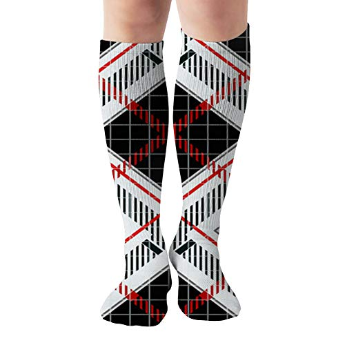 Classical Shirt Checkered Plaid Abstract Compression Socks For Women And Men - Best Medical,For Running, Athletic, Varicose Veins, Travel 19.68 Inch