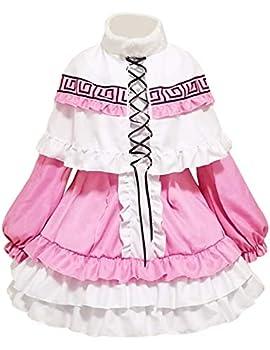 Angelaicos Kanna Kamui Costume Lolita Maid Dress Floral Design Cosplay Costume Pink  Large