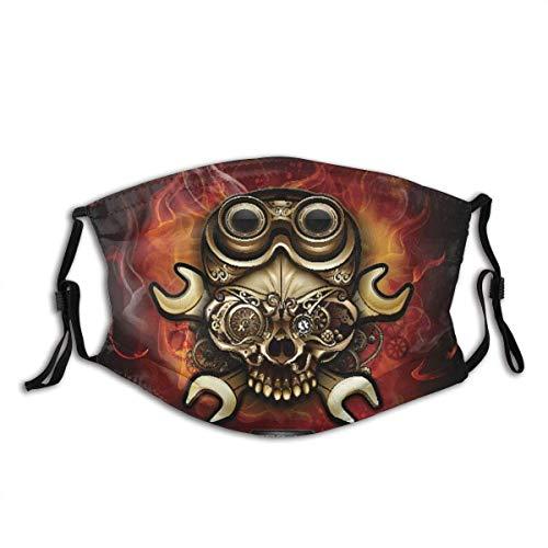 TABUE Mundschutz Gesichtsschutz Steampunk-Schädel auf einem Feuer Sturmhaube Gesichtsschal Mundschal Wiederverwendbarer Staubschutz mit 2 Filter