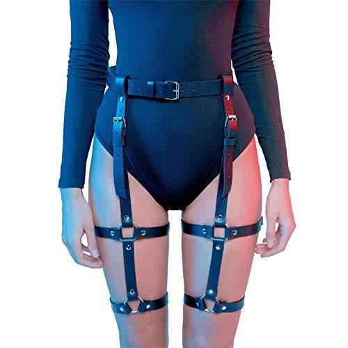 LISBLIER Women Leg Harness Caged Thigh Holster Garters Harajuku Adjustable Punk Leather Waist Gothic Rings Belt