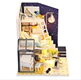 tytlmodel Muebles Madera La Casa Muñecas,Ensamblaje Rompecabezas La Casa Muñecas Bricolaje,Modelo 3D Miniatura Juguetes La Casa Muñecas para Niños Regalo Navidad Cumpleaños,21 * 7.5 * 19 Cm