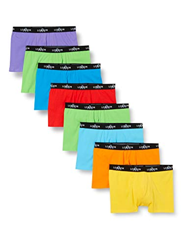 FM London Herren Fitted Boxer Hipster, Neon, Small (8er Pack)
