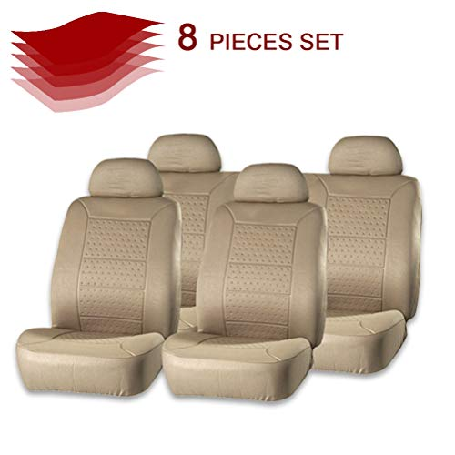 cciyu Seat Cover Universal Car Seat Cushion w/Headrest - 100% Breathable Car Seat Cover Washable Auto Covers Replacement fit for Most Cars(Beige)