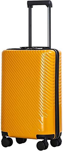 COOLIFE COOLIFE Hartschalen-Koffer Trolley Rollkoffer Reisekoffer mit TSA-Schloss und 4 Rollen (Gelb, Handgepäck)