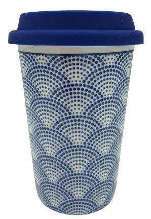 ML Vaso de Porcelana y Tapa de Silicona, Taza para Cafe con Tapa de Silicona de 400ml (Blanco-Puntos)