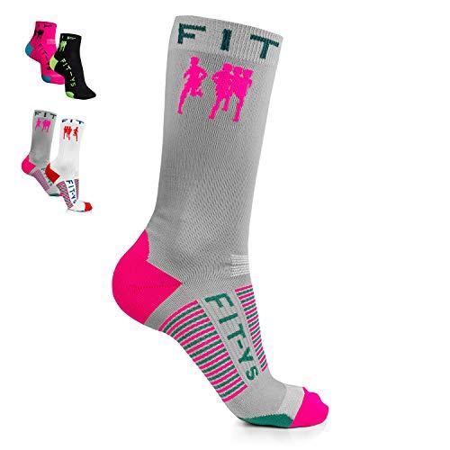 FIT-YS - Calcetines deportivos de 1/4 y 3/4 para hombre y mujer, transpirables y absorben la humedad, talla única, Para todo el año., Hombre, color gris/rosa/azul petróleo, tamaño Talla única