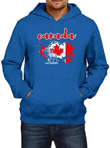 Shirt Happenz Kanada Ahornblatt Canada Elch Canada Hoodie Herren Kapuzenpullover, Größe:S, Farbe:Blau