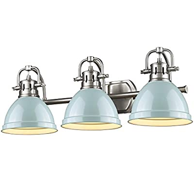 Golden Lighting 3602-BA3 PW-SF Duncan - Three Light Bath Vanity, Shade Options: Seafoam Glass