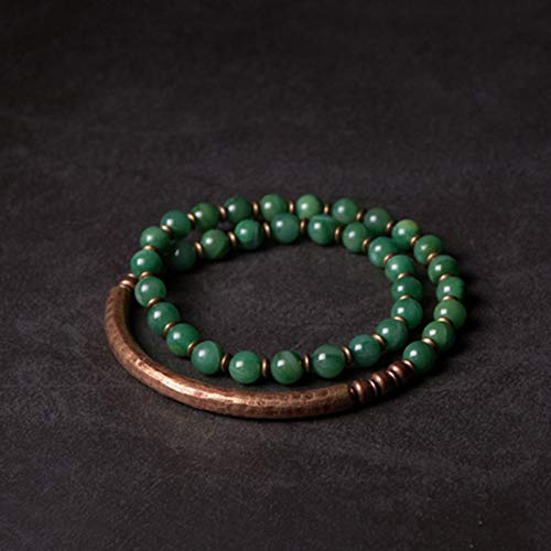 NJIANGHUA Pulseras para hombre y mujer pulseras de varias capas de piedra roja cobre retro verde rojo piedra pulsera hecha a mano pulsera de cuentas regalo pareja mujeres hombres unisex pulsera
