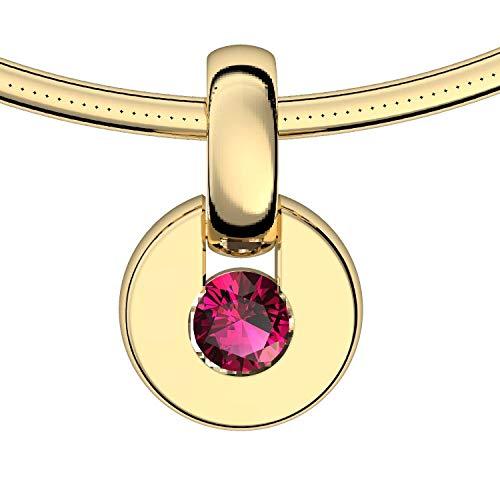 Goldkette Anhänger Rubin 585 + inkl. Luxusetui + Rubin Kette Gold Rubinkette Anhänger Gold Halskette (Gelbgold 585) - Centrical Amoonic Schmuck Länge 45cm TS10 GG585RUFA45