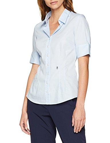 Seidensticker Damen Hemdbluse Kurzarm Slim Fit Uni Bügelfrei Bluse, Blau (Blau 11), 42
