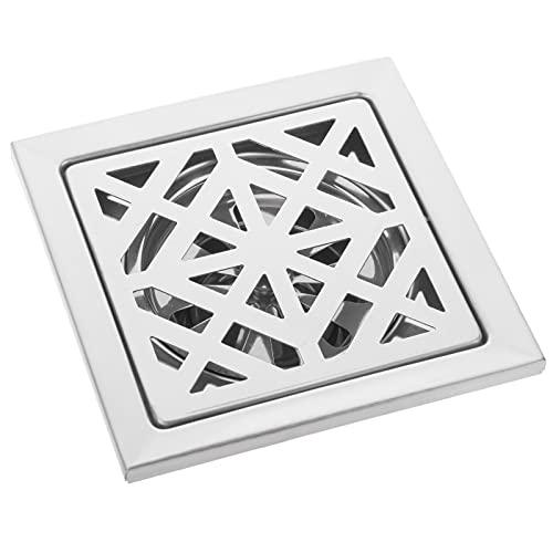PrimeMatik - Sumidero 12x12x5cm con Rejilla extraíble de Acero Inoxidable Brillante
