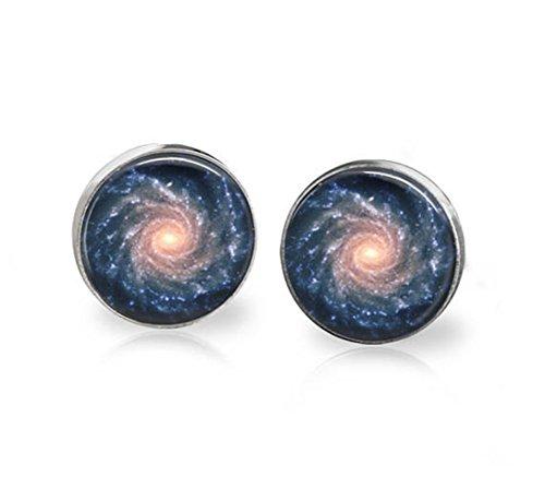 Spiral Galaxy Stud Pendientes Astronomía Espacio Joyería