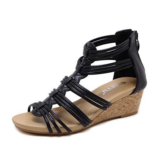 visionreast Damen Sandalen mit Keilabsatz Bequeme Frauen Open Toe Keilsandalen Keilsandaletten mit Reißverschluss hinten, Schwarz, 35 EU