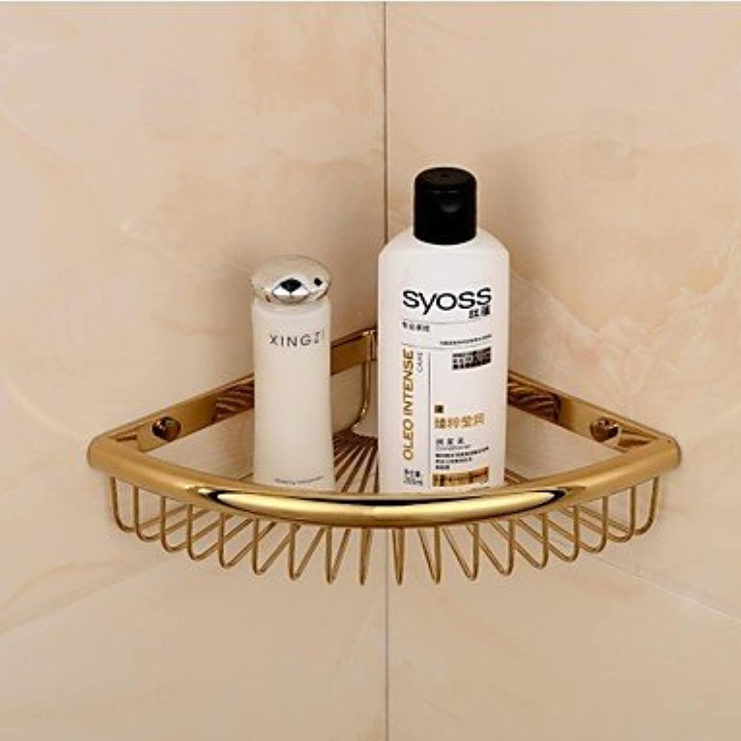 WYMBS golden Finish Triangle Single Shelves Brass Material Wall-mounted Bathroom Soap Basket