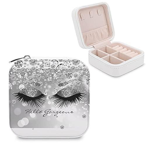 Caja de joyería para mujeres y niñas, con diamantes y plata para pestañas, diseño de cejas Hello Gorgeous Small Travel PU Leather Joyero organizador para collares, pendientes, anillos, pulseras