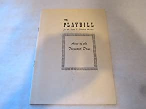 ANNE OF THE THOUSAND DAYS - THE PLAYBILL - JANUARY 10, 1949