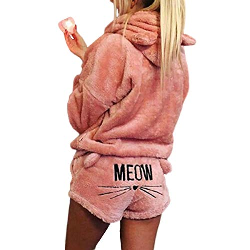 XingYue Direct 2 stücke Frauen Katze Pyjamas Nette Mädchen Meow Nachtwäsche Weichen Bademantel Shorts Winter Lounge Nachtwäsche Sets (Color : Pink, Size : S)