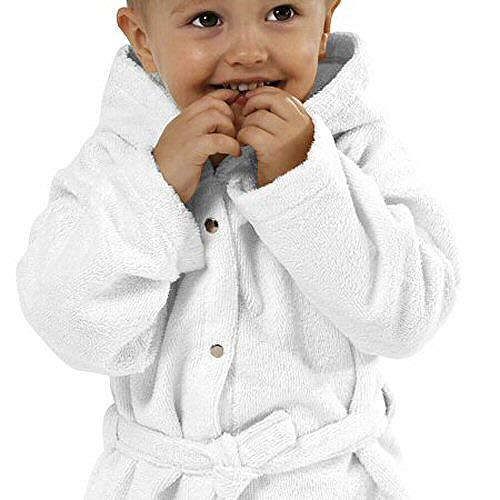 Mikrofaser Baby Strand/Bademantel mit Kapuze aus kuscheligem Wohlfühl-Microfleece Größe 86-92, Weiß