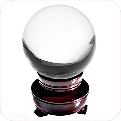 Amlong Crystal Meditation Divnation Sphere Feng Shui Crystal Ball, Lensball, Decorative Ball with Wooden Stand and Gift Box, Clear, 4.2 inch (110mm) Diameter