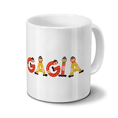 printplanet Tasse mit Namen Gagia - Motiv Holzbuchstaben - Namenstasse, Kaffeebecher, Mug, Becher, Kaffeetasse - Farbe Weiß