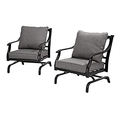 Grand patio Bistro Conversation Set of 2 Outdoor Metal Rocking Chairs with Grey Cushion