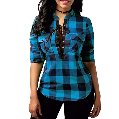 Longsleeve Ladies Blouses Plaid Shirt Camisa A Fashion Casual con Cuadros Vintage Elegant Cross Straps Camisas Tops (Color : Blau, Size : S)