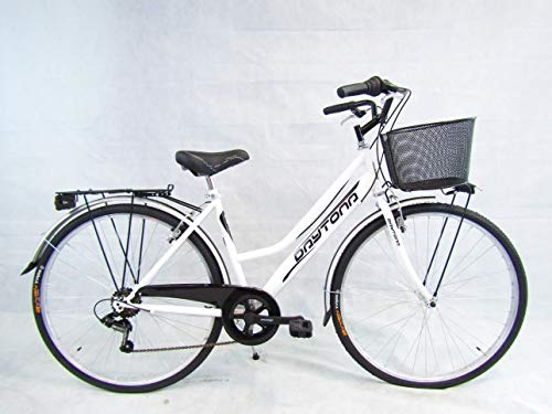 bicicletta donna bici da passeggio city bike 28 trekking cambio 6v colore bianco Daytona