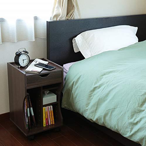 オスマック オスマック サイドワゴン 木製 ベッドサイドワゴン ダークブラウン 30×30×52cm LDB-30DB