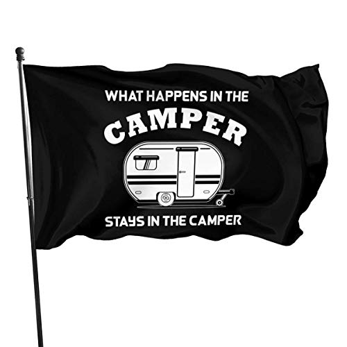AOOEDM What Happens in The Camper Flags 3x5 Foot American Us Polyester Flag