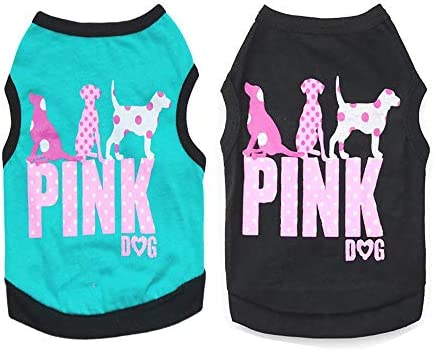 2 Pack Small Dog Girt Shirt for Dog Girl Print Pink Accessories Puppy Spring Summer Boy Apparel product image