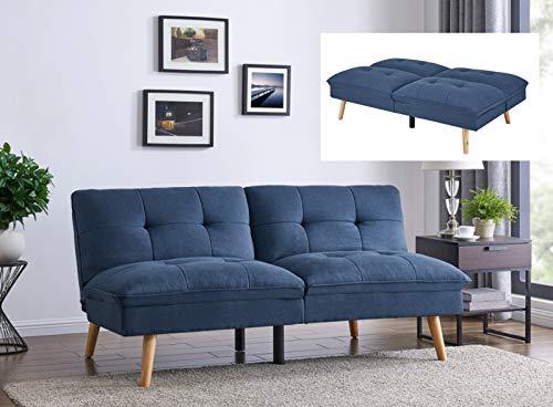 Mobilier Deco Canapé clic clac Design scandinave en Tissu Bleu KOZI